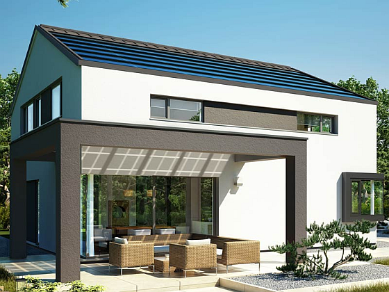 Zur Halbzeit in Führung: Von den sieben Effizienzhaus Plus Häusern hat das Bien Zenker Haus Concept M den höchsten Stromüberschuss erreicht. (Foto: Bien Zenker AG)